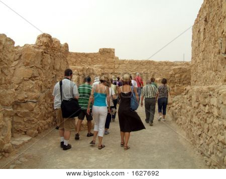 Group Of Tourists Visiting Massada/Israel