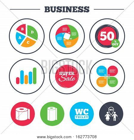 Business pie chart. Growth graph. Toilet paper icons. Gents and ladies room signs. Paper towel or kitchen roll. Man and woman symbols. Super sale and discount buttons. Vector