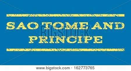 Sao Tome and Principe watermark stamp. Text tag between horizontal parallel lines with grunge design style. Rubber seal stamp with unclean texture.