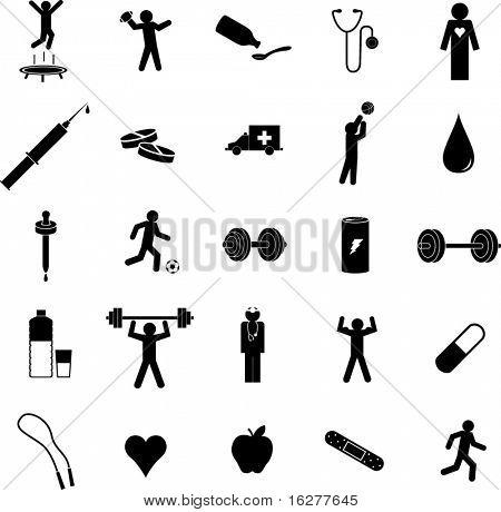 ejercicio conjunto de símbolo de salud y medicina de deportes