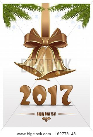 Jingle bells fir branches and gold figures 2017. Happy New Year. Christmas design. Vector Christmas card