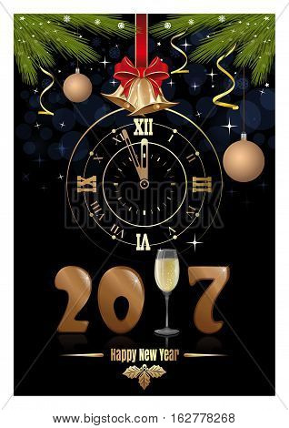 Gold figures 2017, clock, glass of champagne, jingle bells, fir branches and red ribbon with a bow. Happy New Year. Vector Christmas card