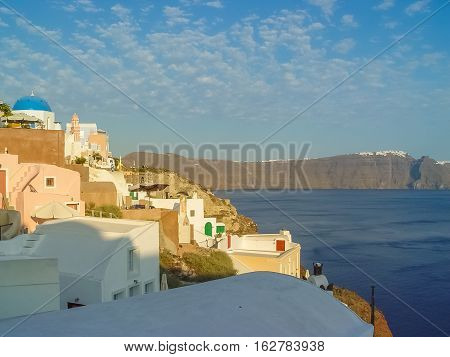 Santorini Island At The Sunset. A Viewpoint From Oia Village