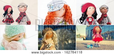 A selection of photos from rag handmade dolls with natural hair