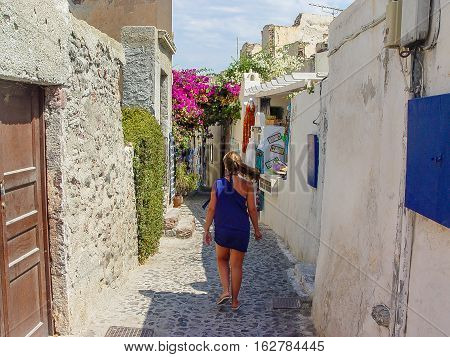 View Of Street In Santorini A Greek Island