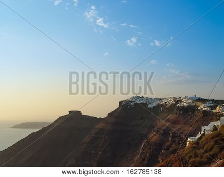 White Houses, Churches And Blue Domes In Oia Village