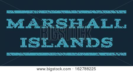 Marshall Islands watermark stamp. Text caption between horizontal parallel lines with grunge design style. Rubber seal stamp with dust texture. Vector blue color ink imprint on a dark blue background.