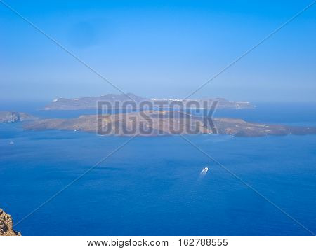 View Of Santorini Sea With Many Cruise Ships