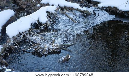 Forest river flowing water late nature winter melted ice landscape, arrival of spring