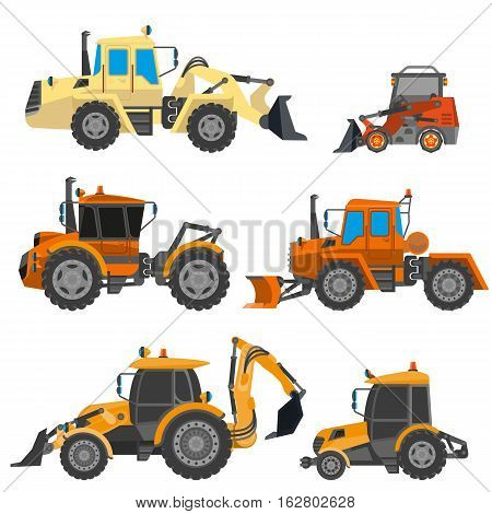 Vector bulldozers. Set of construction equipment: yellow tractor, heavy machinery for work, truck and excavator. Icon of industrial transportation in flat design. Illustration isolated on white