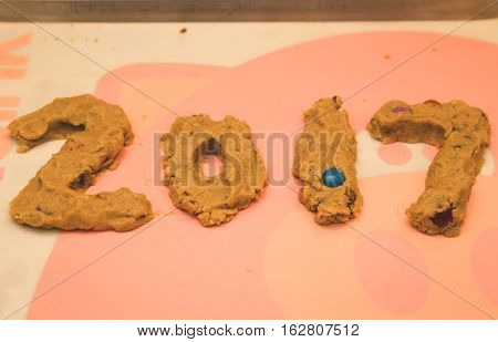 2017 in cookie dough. Chocolate candy cookie dough formed in the shape of