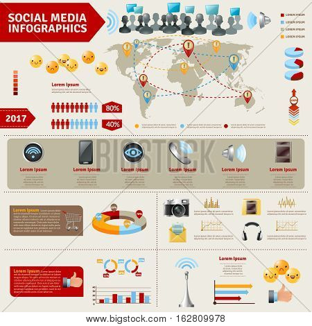 Social media infographics with devices signs means and ways of people communication vector illustration