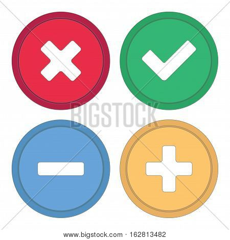 Button for site. Signs plus, minus, checkmark and cross. Vector illustration.