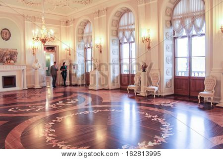 Gatchina, Russia - 3 December, Parquet White Hall of the Gatchina Palace, 3 December, 2016. Visit the Museum Reserve Gatchina Palace.