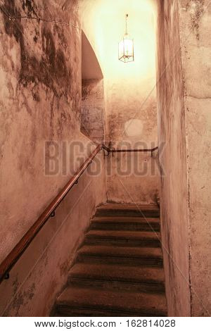 Gatchina, Russia - 3 December, Stairs from the cave, 3 December, 2016. Visit the Museum Reserve Gatchina Palace.