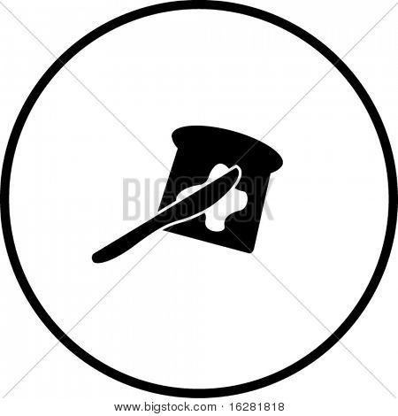 toast bread slice with butter and spreading knife symbol