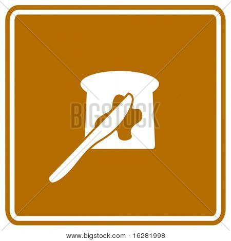 toast with butter and spreading knife sign