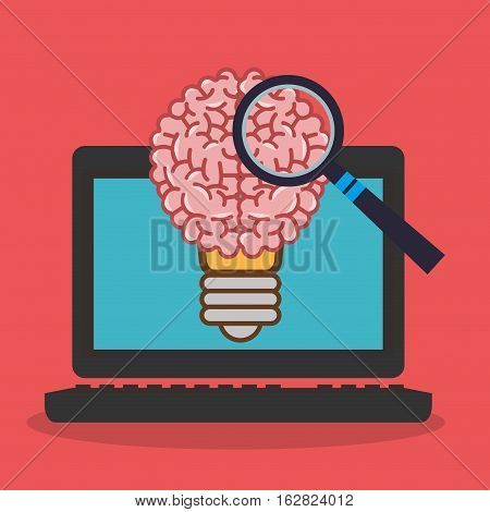 Laptop lupe and brain icon. Science laboratory chemistry and research theme. Colorful design. Vector illustration