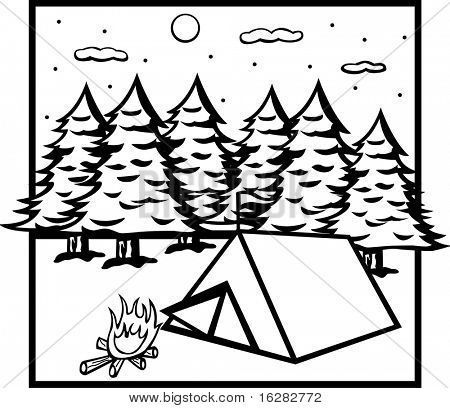 camping tent in forest