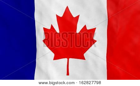French Canadian conceptual Conceptual flag on flowing in the wind Close textured details