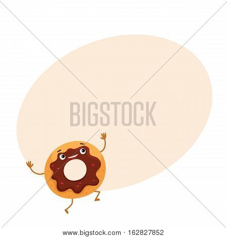 Funny donut character with chocolate glazing and sprinkles, cartoon style vector illustration on background with place for text. Cute smiley freshly donut character with eyes and legs