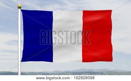 French tricolore flag; French flag flying in wind against blue sky and clouds on a flagpole