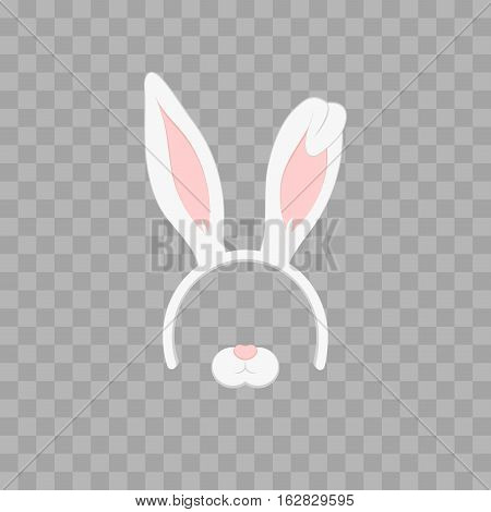 Easter mask with rabbit ears isolated on transparent checkered vector illustration. Cartoon Cute Headband with Ears
