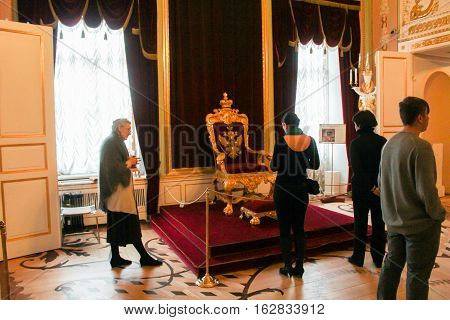 Gatchina, Russia - 3 December, Upper throne room of Paul the First, 3 December, 2016. Visit the Museum Reserve Gatchina Palace.