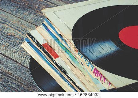 Pile of old vinyl records on the table