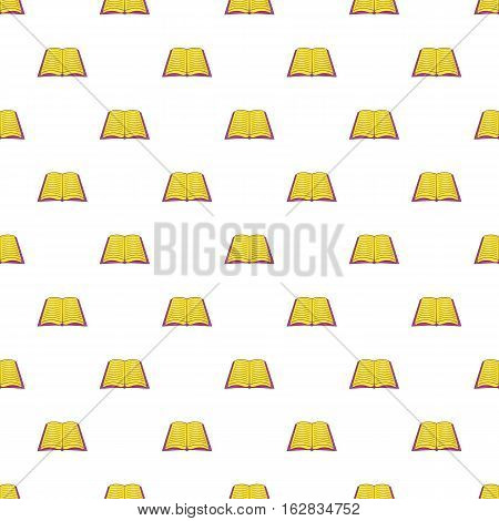 Cartoon illustration of book open in middle vector pattern for web
