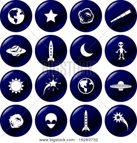 astronomy and astronautics symbols set