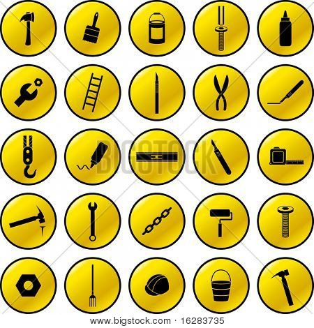 do it yourself tools buttons set