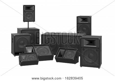 Speakers audio loud system modern black sound system. 3D rendering