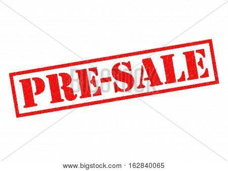PRE-SALE red Rubber Stamp over a white background.