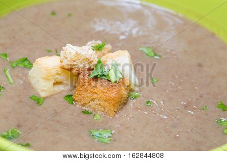 Close Up Of Cream Mushrooms With Bread Crumbs
