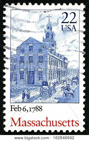 UNITED STATES OF AMERICA - CIRCA 1987: A used postage stamp from the USA commemorating the date when Massachusetts ratified the constitution circa 1987.