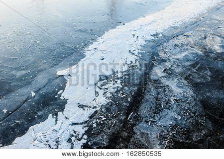 frozen white ice on lake in winter