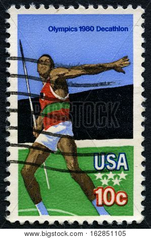 UNITED STATES OF AMERICA - CIRCA 1980: A used postage stamp from the USA illustrating a Javelin scene and commemorating the 1980 Olympic Games circa 1980.