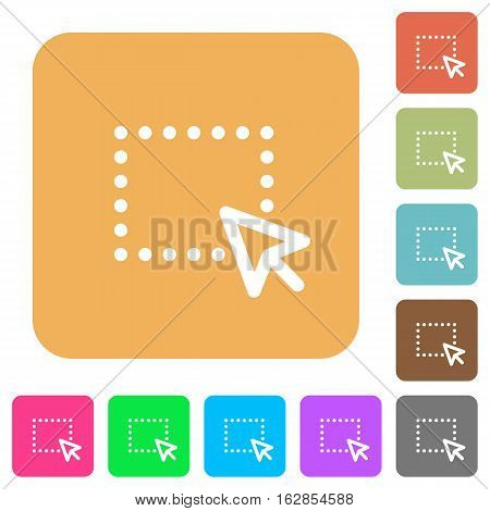 Drag and drop operation icons on rounded square vivid color backgrounds.
