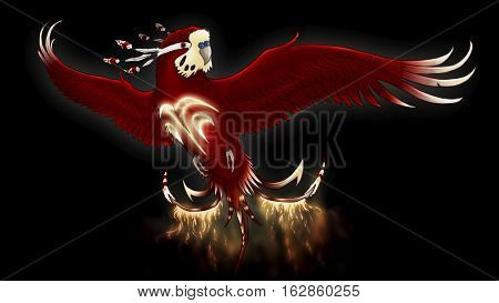 A magical, etheric bird with glowing glyphs on its chest and a tail of flame.