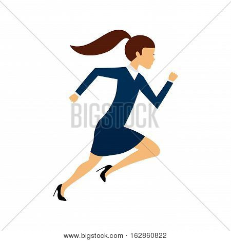business woman running icon over white background. competitive business cocept. colorful design. vector illustration