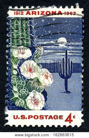 UNITED STATES OF AMERICA - CIRCA 1962: A used postage stamp from the USA commemorating the 50th Anniversary of the statehood of Arizona circa 1962.