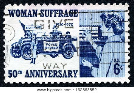 UNITED STATES OF AMERICA - CIRCA 1970: A used postage stamp from the USA celebrating the 50th Anniversary of Woman Suffrage and gaining the right to vote circa 1970.