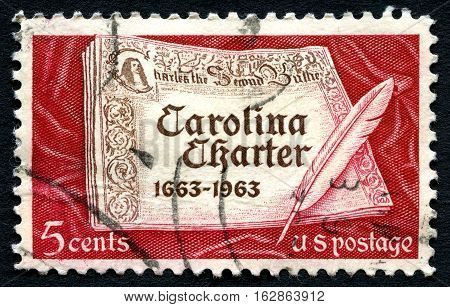 UNITED STATES OF AMERICA - CIRCA 1963: A postage stamp from the USA commemorating the 300th Anniversary of the Carolina Charter issued by Charles II circa 1963.