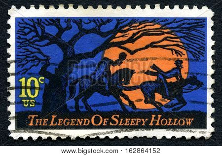 UNITED STATES OF AMERICA - CIRCA 1974 - A used postage stamp from the USA dedicated to The Legend of Sleepy Hollow by Washington Irving circa 1974.