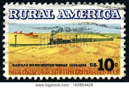UNITED STATES OF AMERICA - CIRCA 1974: A used postage stamp from the USA celebrating Rural America and Kansas Hard Winter Wheat circa 1974.