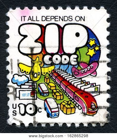 UNITED STATES OF AMERICA - CIRCA 1973: A used postage stamp from the USA with the inscription It All Depends on the Zip Code circa 1973.