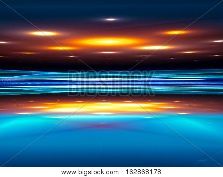 Fractal perspective background- abstract computer-generated image. Digital art: scene, illuminated from above by round spotlights. For covers, posters, web design