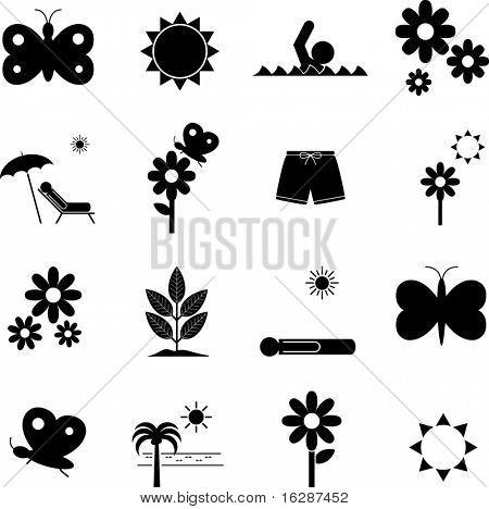 spring and spring break symbols set