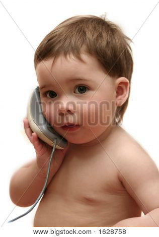 Baby Using Mouse As Phone